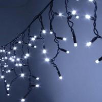 Гирлянда светодиодная уличная Бахрома 5 м 120 LED белая - черный провод