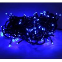 Гирлянда светодиодная 100 LED синяя - черный провод