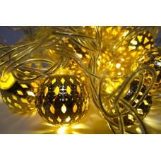 Гирлянда светодиодная шарик золото 2.5 см 20 LED - прозрачный провод