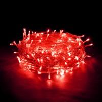 Гирлянда светодиодная 500 LED красная - прозрачный провод