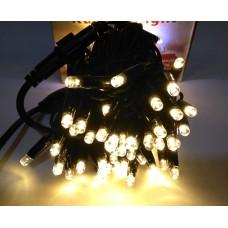 Гирлянда светодиодная уличная 10 м 100 LED белая теплая - черный провод