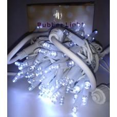 Гирлянда светодиодная уличная 10 м 100 LED белая - белый провод
