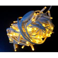 Гирлянда светодиодная уличная 10 м 100 LED белая теплая - белый провод