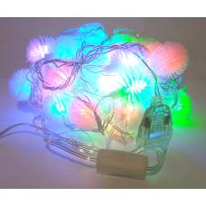 Гирлянда светодиодная шарик мягкий 3 см 32 LED - прозрачный провод