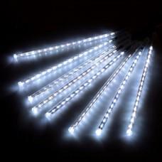 Гирлянда светодиодная уличная сосульки трубка 50 см белая - прозрачный провод