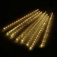 Гирлянда светодиодная уличная сосульки трубка 50 см белая теплая - прозрачный провод