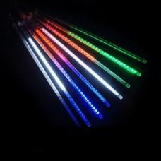 Гирлянда светодиодная уличная сосульки трубка 50 см микс - прозрачный провод