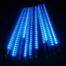 Гирлянда светодиодная уличная сосульки трубка 50 см синяя - прозрачный провод