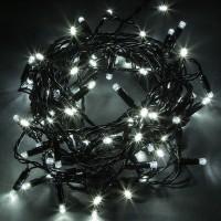 Гирлянда светодиодная уличная 10 м 100 LED белая - черный провод