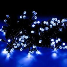 Гирлянда светодиодная уличная 10 м 100 LED синяя - черный провод